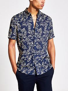 river-island-short-sleevenbspfloral-shirt-navy