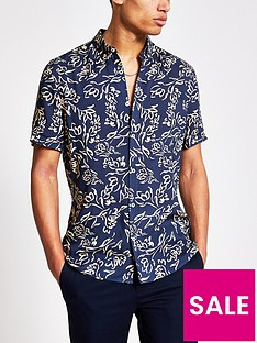 river-island-short-sleevenbspfloral-shirt-navy