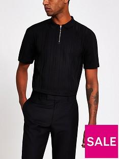 river-island-short-sleevednbspribbed-polo-shirt-black
