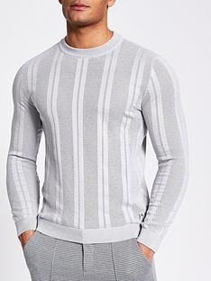 river-island-mesh-stripe-crew-neck-t-shirt-navy