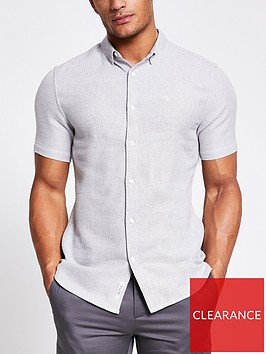 river-island-short-sleevenbsptexture-shirt-light-grey