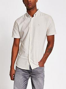 river-island-short-sleeved-oxford-stripe-shirt-stone