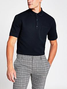 river-island-short-sleevenbspwaffle-polo-shirt-navy