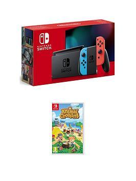 Nintendo Switch Neon Console With Animal Crossing New Horizon