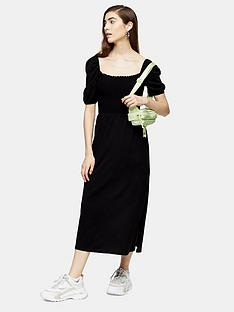 topshop-shirred-midi-dress-black
