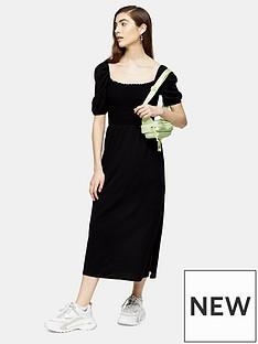 topshop-shirred-midi-dress-black