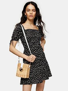 topshop-ditsy-shirred-mini-tea-dress-mono