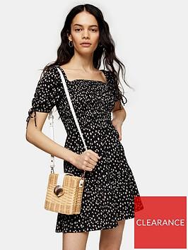 topshop-ditsy-shirred-mini-tea-dress-mono