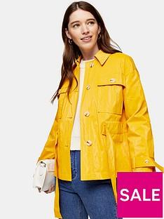 topshop-crinkled-crop-coat-yellow