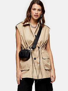 topshop-sleeveless-crop-trench-coat-sand
