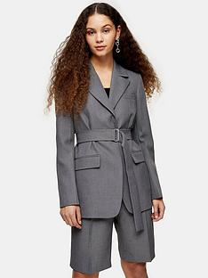 topshop-tonic-belted-blazer-grey