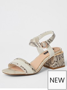 river-island-snake-print-low-heeled-sandal-cream