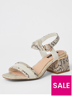 river-island-snake-print-low-heeled-sandal-cream