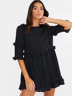 in-the-style-in-the-style-x-lorna-luxe-girls-girl-ruffle-mini-dress-black