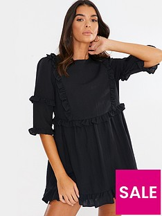 in-the-style-in-the-style-x-lorna-luxe-girls-girl-ruffle-mini-dress-black