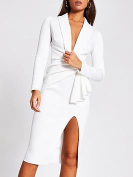 river-island-scuba-plunge-bodycon-midi-dress-white