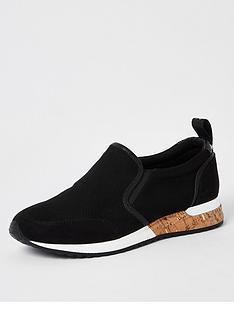 river-island-perforated-cork-runners-black