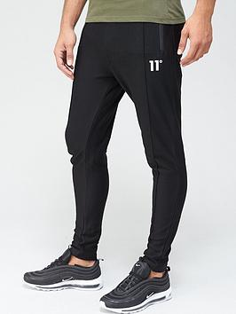 11 degrees nitro textured pintuck skinny fit joggers - black
