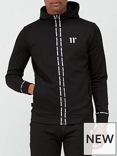 11-degrees-maize-pique-repeat-binding-full-zip-hoodie-blacknbsp