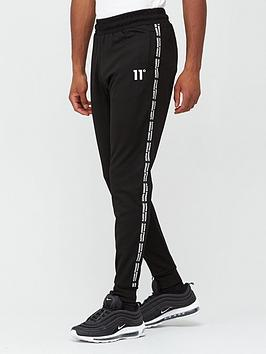 11 degrees maize pique repeat binding skinny fit joggers - black