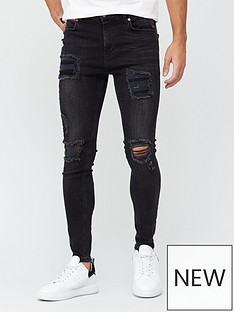 11-degrees-essential-super-stretch-distressed-skinnynbspjeans-washed-blacknbsp