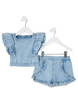 river-island-mini-girls-broderie-denim-top-and-short-setnbsp-nbspblue