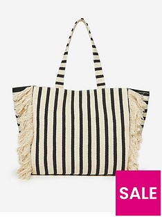 dorothy-perkins-stripe-fringe-shopper-bagnbsp--neutral