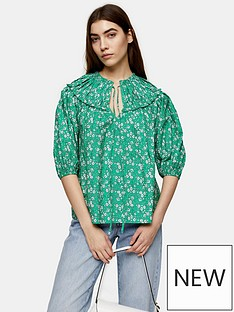 topshop-floral-cotton-puff-sleeve-blouse-green