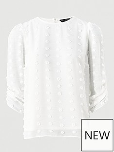 dorothy-perkins-flocked-rouched-three-quarter-sleeve-top-ivory
