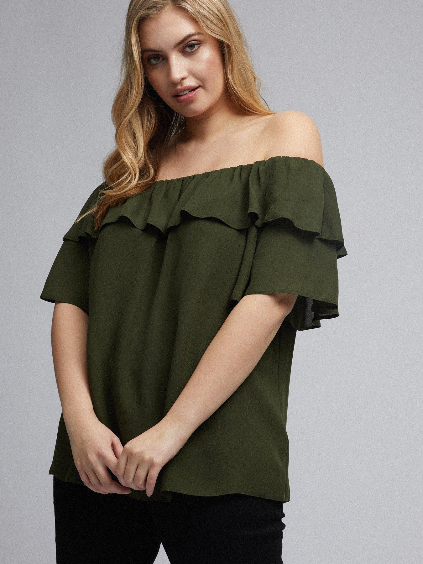 Womens Ruched Sleeve Bardot Top Simply Be