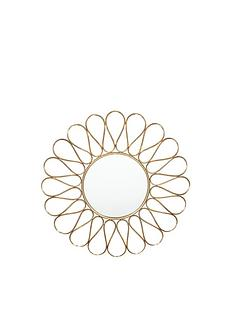 pacific-lifestyle-antique-gold-metal-petal-round-wall-mirror