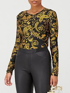 versace-jeans-couture-baroque-print-bodysuitnbsp--black