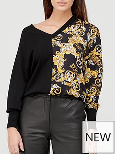 versace-jeans-couture-v-neck-baroque-print-jumper-black
