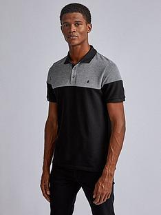 burton-menswear-london-cut-and-sew-two-tone-polo-shirt-black