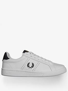 fred perry white/ navy leather trainers, white, size 3, women