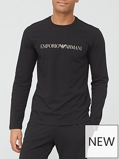 emporio-armani-bodywear-gold-logo-lounge-top-black