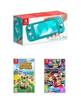 Nintendo Switch Lite Console With Animal Crossing New Horizon  Mario Kart 8 Deluxe