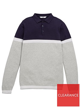v-by-very-boys-knitted-long-sleeve-polo-jumper-navy-grey