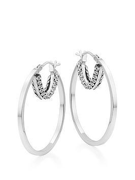 beaverbrooks-9ct-white-gold-crystal-hoop-earrings