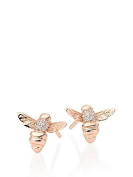 beaverbrooks-rose-gold-plated-silver-cubic-zirconia-bee-earrings