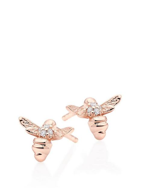 beaverbrooks-mini-b-childrens-rose-gold-plated-silver-cubic-zirconia-bee-earrings