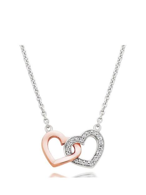 beaverbrooks-silver-and-rose-gold-plated-cubic-zirconia-double-heart-necklace