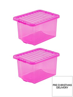 wham-set-of-2-pink-crystalnbsp-plastic-storage-boxes-ndash-24-litres-each