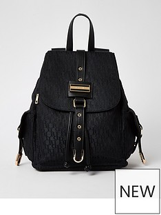 river-island-lock-front-jacquard-backpack-black