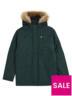 lyle-scott-boys-fleece-lined-faux-fur-parka-khaki