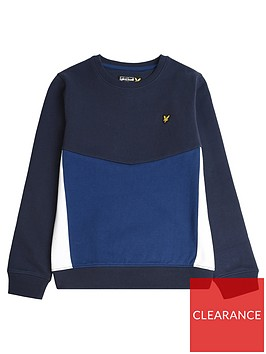 lyle-scott-boys-panel-crew-sweat-navy