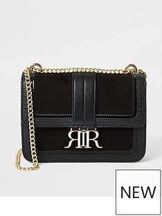 river-island-faux-suede-underarm-satchel-bag-black