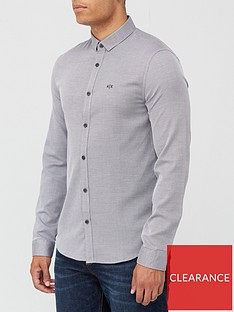 armani-exchange-textured-jacquard-shirt-grey
