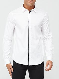armani-exchange-shirt-with-piping-white