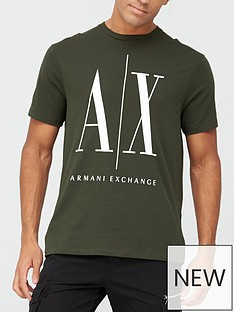 armani-exchange-ax-icon-logo-print-t-shirt-khaki